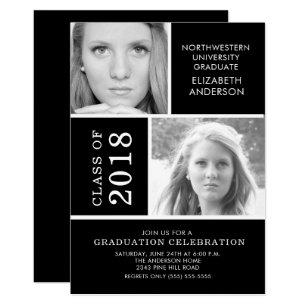 Black and white graduation invitations zazzle modern black white 2 photo graduation invitation filmwisefo