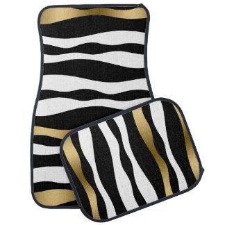 Modern Black White 7 Gold Zebra Stripes Pattern Car Floor Mat