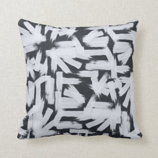 Modern black white abstract brush strokes pattern throw pillow