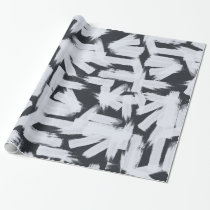 Modern black white abstract brush strokes pattern wrapping paper