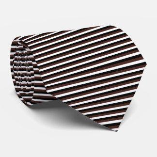 Modern Black, White, and Brown Pinstripe Stripes Tie