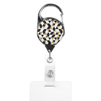 Modern Black, White, and Faux Gold Triangles Badge Holder