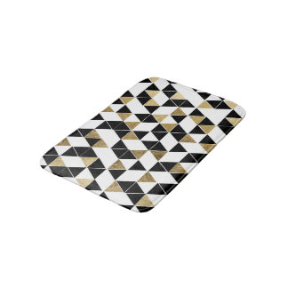 Modern Black, White, and Faux Gold Triangles Bathroom Mat