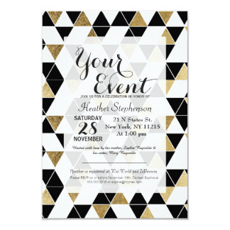Modern Black, White, and Faux Gold Triangles Card
