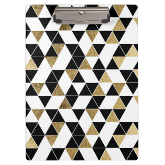 Modern Black, White, and Faux Gold Triangles Clipboard