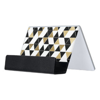Modern Black, White, and Faux Gold Triangles Desk Business Card Holder