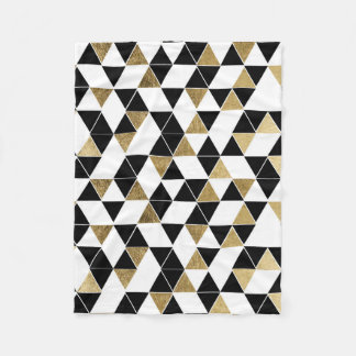 Modern Black, White, and Faux Gold Triangles Fleece Blanket