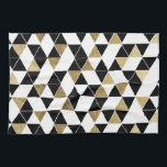 """Modern Black, White, and Faux Gold Triangles Kitchen Towel<br><div class=""""desc"""">This modern and trendy black,  white,  and faux printed gold triangles geometric pattern is perfect for the stylish and unique individual. It&#39;s contemporary and cool print is great for many gifts and occasions. Enjoy this simple and chic design for your next purchase!</div>"""