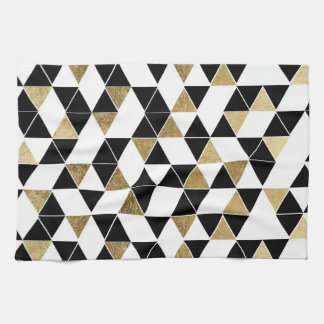 Modern Black, White, and Faux Gold Triangles Kitchen Towel