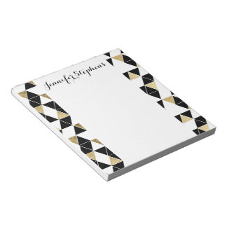 Modern Black, White, and Faux Gold Triangles Notepad