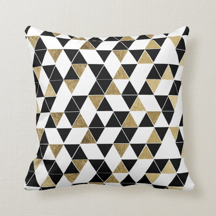 Modern Black, White, and Faux Gold Triangles Throw Pillow Zazzle