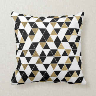 Modern Black, White, and Faux Gold Triangles Throw Pillow