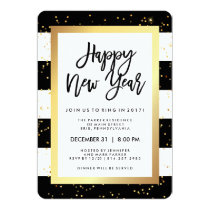 Modern Black White and Gold New Year's Eve Party Invitation
