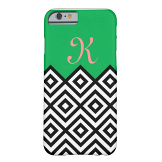 Modern Black White and Green Chevron Pattern Barely There iPhone 6 Case