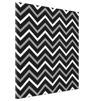 Modern Black White And Grey Chevron Pattern Zigzag Canvas Print