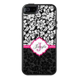 Modern Black White And Pink Floral Damasks OtterBox iPhone 5/5s/SE Case
