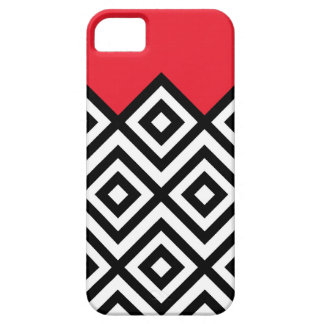 Modern Black White and Red Chevron Pattern iPhone 5 Cases