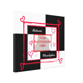 Modern Black White and Red Love Photo Frame Canvas