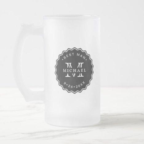 Modern Black & White Best Man/Groomsman Gift Frosted Glass Beer Mug