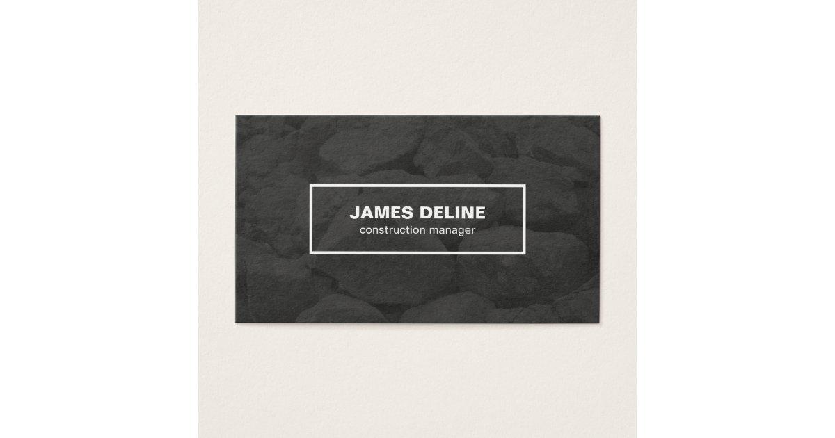 modern black white bold font construction business card