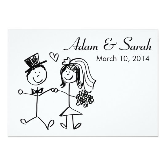 Modern Black White Bride Groom Doodle Invite Zazzle Com