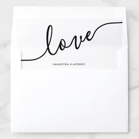 Modern black white casual typography love wedding envelope liner