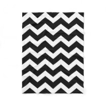 Modern Black White Chevron Pattern Fleece Blanket