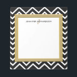 """Modern black white chevron pattern monogram name notepad<br><div class=""""desc"""">Modern stylish black and white chevron and golden frame personalized notepad. Black and white chevron design with monogram and name. You can add your own name or text and monogram.</div>"""