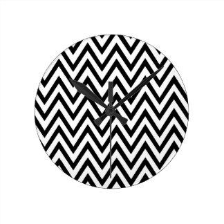 Modern black white chevron zigzag clock