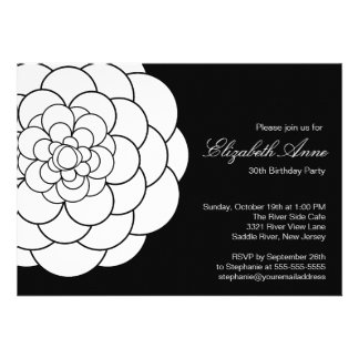 Modern Black white Dahlia Bloom Birthday Party Invitation