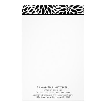 Modern Black White Dahlias Professional Stationery