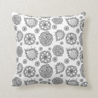 Modern Black & White Doodle Floral Pattern Cushion Throw Pillows