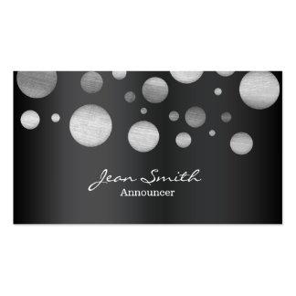 Modern Black & White Dots Announcer Business Card