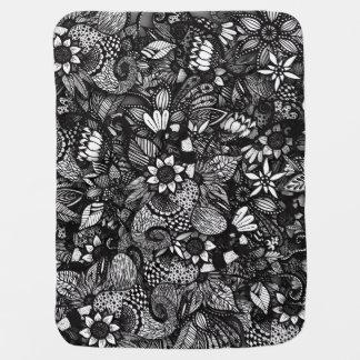 Modern Black & White Drawn Floral Collage Baby Blanket