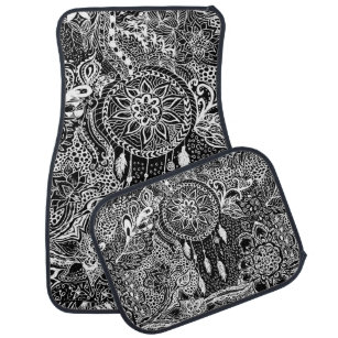 Modern black white dreamcatcher floral pattern car floor mat