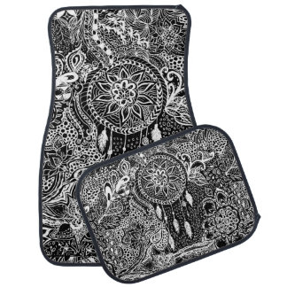 Modern black white dreamcatcher floral pattern car floor mat