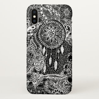 Modern black white dreamcatcher floral pattern iPhone x case