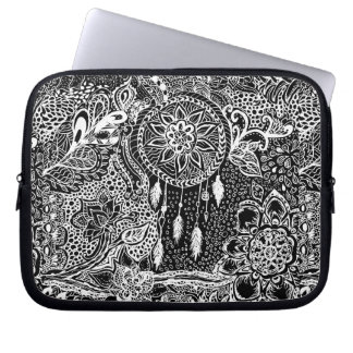 Modern black white dreamcatcher floral pattern laptop sleeve