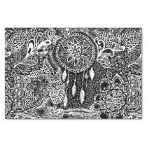 Modern black white dreamcatcher floral pattern tissue paper
