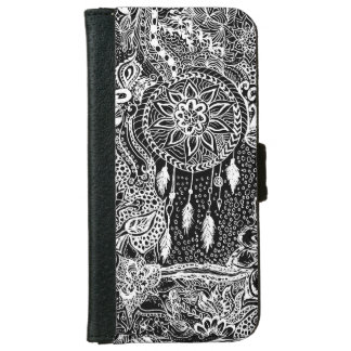 Modern black white dreamcatcher floral pattern wallet phone case for iPhone 6/6s