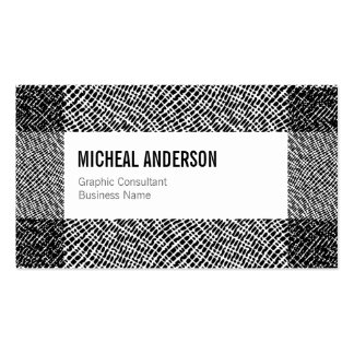 Modern Black White Etched Graphic Pattern Border Business Card