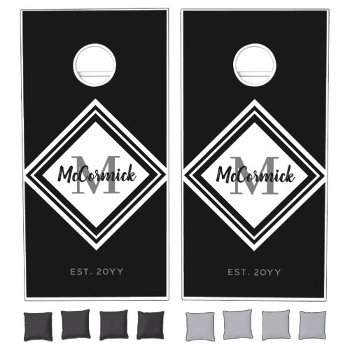 Modern Black White Family Monogram Personalized Cornhole Set