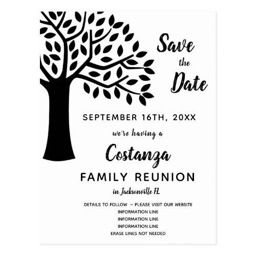 Modern Black  White Family Reunion Save the Date Postcard