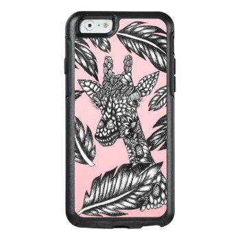 Modern Black White Floral Giraffe Pastel Pink Otterbox Iphone 6/6s Case by girly_trend at Zazzle