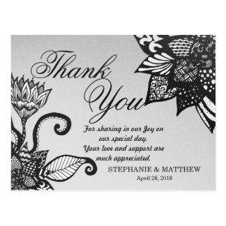 Modern Black & White Floral Tangle Drawing Pattern Postcard