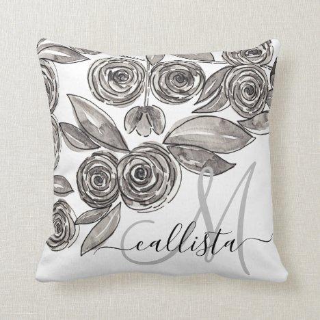 Modern Black White Floral Watercolor Monogram Throw Pillow