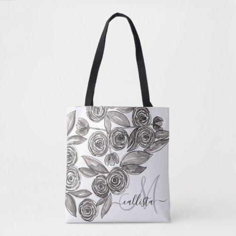 Modern Black White Floral Watercolor Monogram Tote Bag