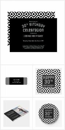 Modern Black White Geometric 30th Birthday Party