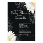 "Modern Black & White Gerbera Daisy Baby Shower 5"" X 7"" Invitation Card"