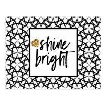 Modern Black White Gold Art Card Shine